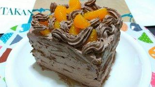 20210228_みかんとチョコクリームのカステラケーキ《自作ケーキ》【ケーキ大人食い】.jpg